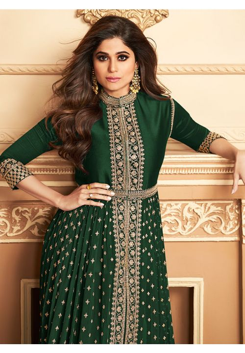 Bollywood Shamita Shetty Green Anarkali Salwar Suit In Georgette Buttis BOLSF5645