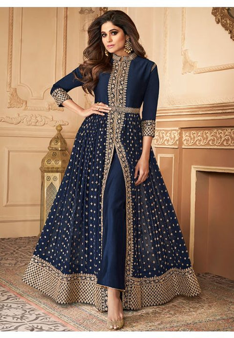 Bollywood Shamita Shetty Navy Anarkali Salwar Suit In Georgette Buttis BOLSF5647 - Siya Fashions