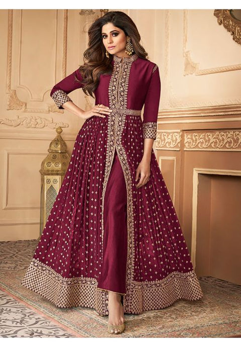 Bollywood Shamita Shetty Wine Anarkali Salwar Suit In Georgette Buttis BOLSF5646 - Siya Fashions
