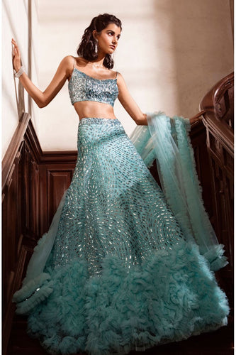 Bounty Faux Feathers Cocktail Prom Lehenga SFINS1131 - Siya Fashions