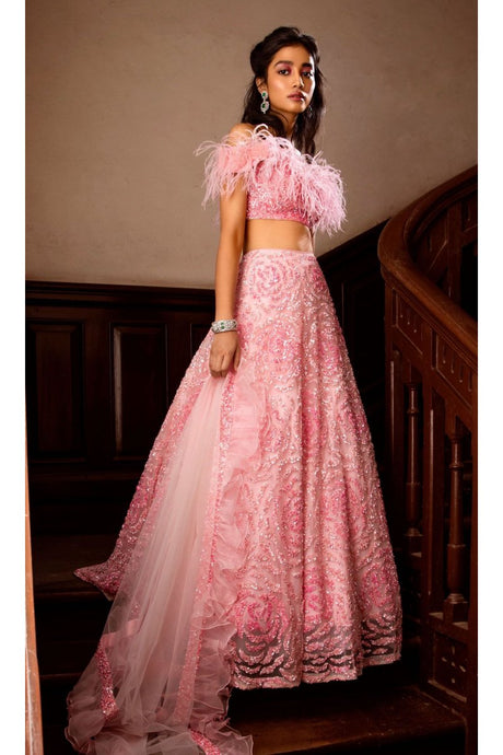 Bounty Peach Faux Feathers Cocktail Prom Lehenga SFINS1123 - Siya Fashions