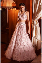 Load image into Gallery viewer, Bounty Pink Faux Feathers Cocktail Prom Lehenga SFINS1134 - Siya Fashions