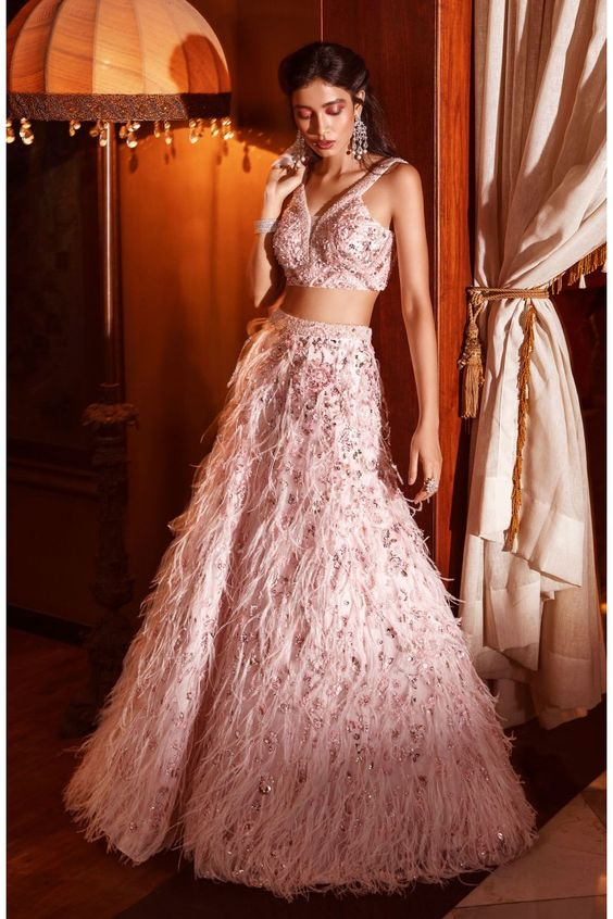 Bounty Pink Faux Feathers Cocktail Prom Lehenga SFINS1134 - Siya Fashions