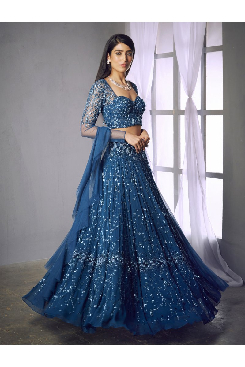 Bounty Teal Blue Cocktail Prom Lehenga SFINS0032