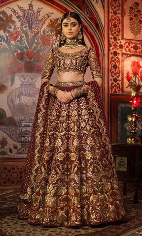 Bridal Asian Bridal Lehenga Wedding Red Haute Couture Style SIYA47INSP - Siya Fashions