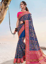 Load image into Gallery viewer, Bridal Banarasi Silk Blue Saree With Pink Blouse SFWEB1310 - Siya Fashions