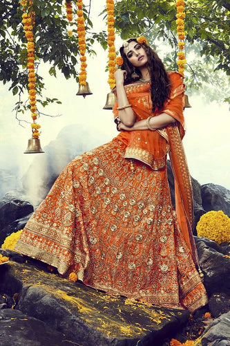 Orange Designer Kundan Work Indian Bridal Outfits Set - Siya Fashions