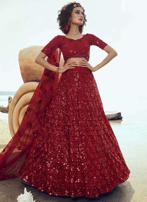 Bridal Red Wedding Reception Net Lehenga Set SF2063FZD - Siya Fashions