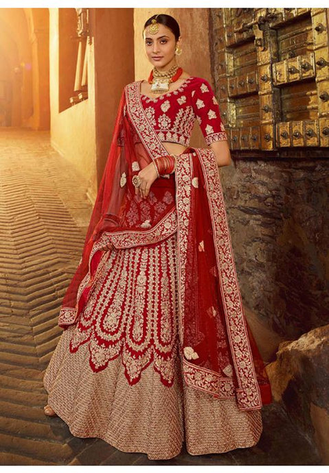 Bridal Wedding Pure Velvet Red Color Lehenga Choli SYD21575 - Siya Fashions