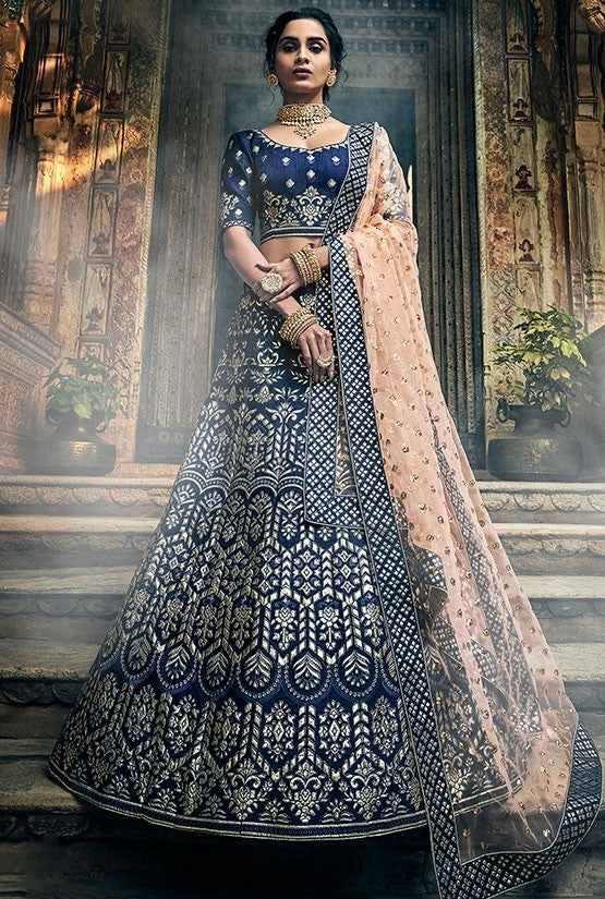 Bridal Blue Art Silk Lehenga Gota Work SF29BRI - Siya Fashions