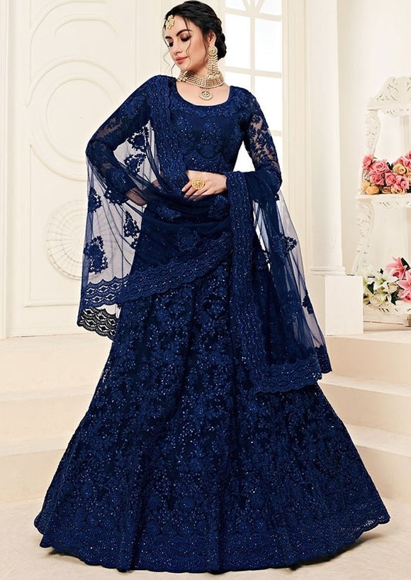 Bridal Blue Sangeet Hot Lehenga In Net Cut Work SYDS0552 - Siya Fashions