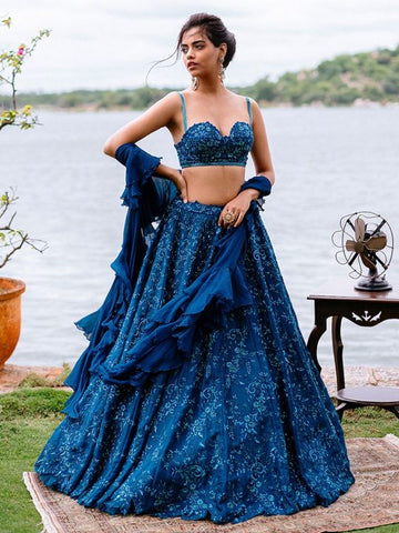 Ocean Blue Bridal Cocktail Lehenga In Silk SIYA66INS - Siya Fashions