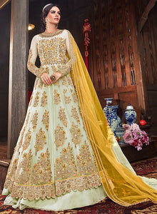 Bridal Cream Pure Net Lehenga Kameez Suit SFYDS9556 - Siya Fashions