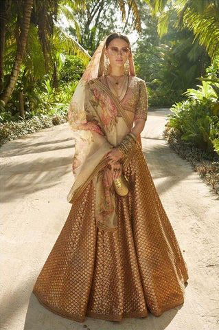Bridal Gold Lehenga Choli Floral Dupatta Stone Top SIYA55IN - Siya Fashions