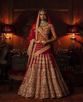 Bridal Gold Red Silk Lehenga Set Zardozi Work SIYAINS1293