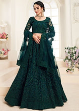 Bridal Green Sangeet Hot Lehenga In Net Cut Work SYDS0550 - Siya Fashions