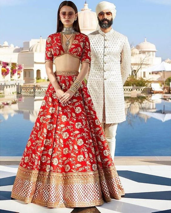 Bridal Heritage Red Lehenga Choli Silk SFINS132
