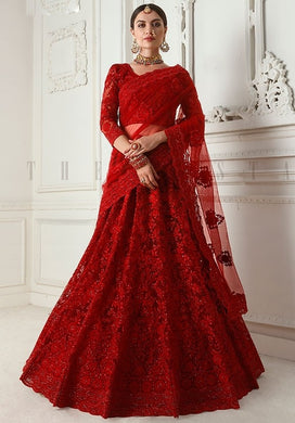 Bridal Hot Red Lehenga In Net Cut Work SYDS123 - Siya Fashions