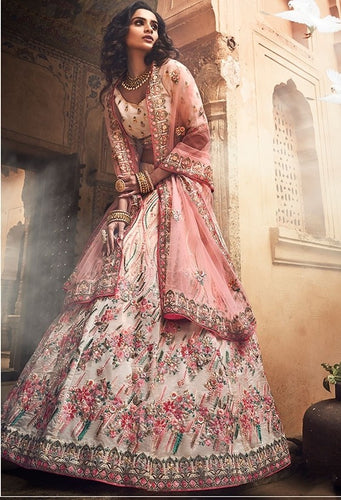 Bridal Ivory Sequin Lehenga In Organza SF27BRI - Siya Fashions