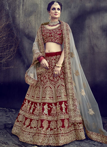 Bridal Maroon Diamond Work Velvet Lehenga Choli SFL59 - Siya Fashions
