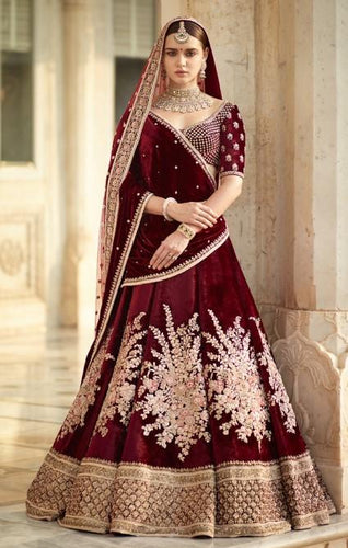 Bridal Maroon Handwork Full Embroidery Zardozi Work SFINSB92 - Siya Fashions