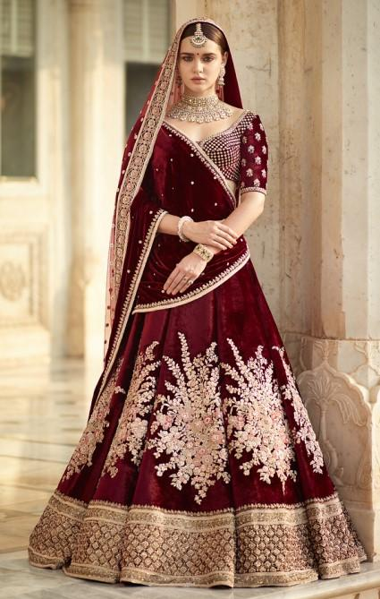 Bridal Maroon Handwork Full Embroidery Zardozi Work SFINSB92