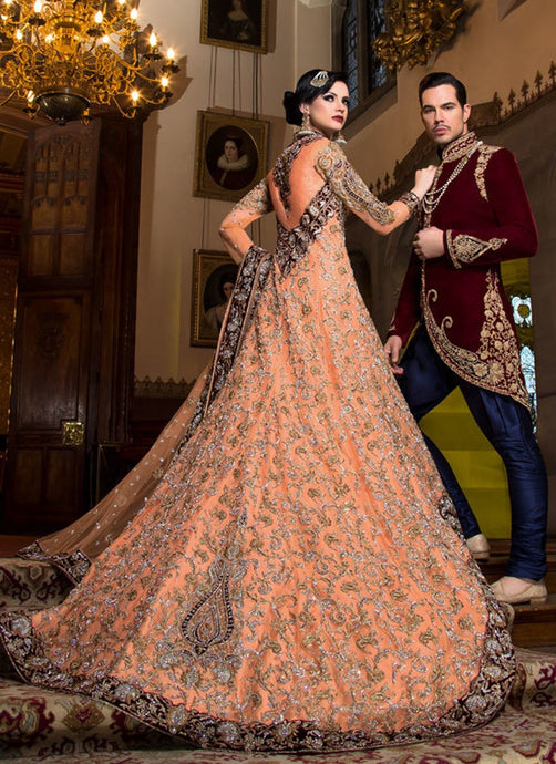 Bridal Peach Net Trail Stylish Lehenga SFBRIDE09 - Siya Fashions