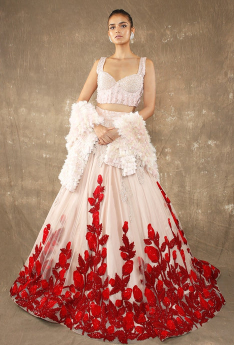 Bridal Peach Red Prom Lehenga Choli With Handwork SFINS89 - Siya Fashions