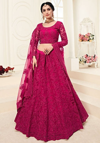 Bridal Pink Sangeet Hot Lehenga In Net Cut Work SYDS0551 - Siya Fashions