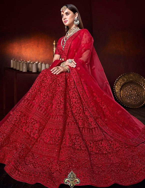 Bridal Red Lehenga Pearl Work With Zardozi Work SF2312YDS