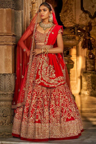Bridal Red Silk Lehenga Set Zardozi Work SIYAINS1292