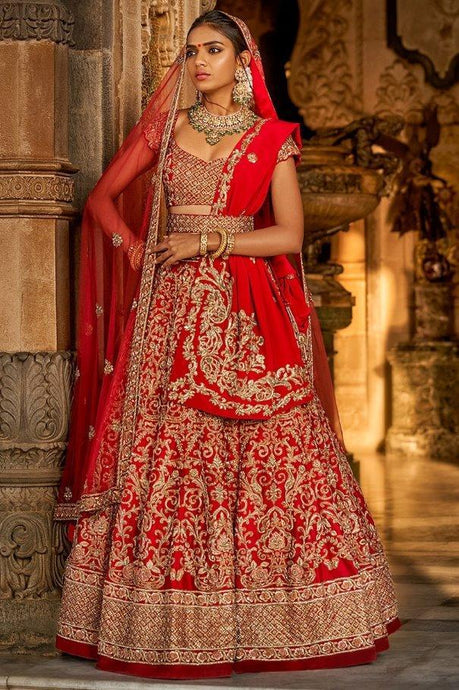 Bridal Red Silk Lehenga Set Zardozi Work SIYAINS1292 - Siya Fashions