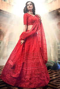 Bridal Red Zarkan Soft Net Lehenga SF23BRI - Siya Fashions
