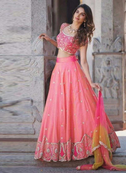 Bridal Wedding Pink Lehenga In Silk Motifs Sequin SFIN112 - Siya Fashions