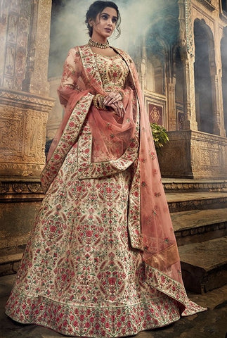 Bridal White Art Silk Lehenga Gota Work SF30BRI - Siya Fashions