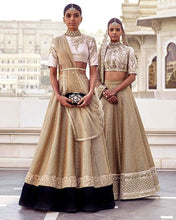 Load image into Gallery viewer, Bridal White Gold Lehenga With Black Velvet Patch SFINSB78 - Siya Fashions