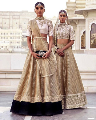 Bridal White Gold Lehenga With Black Velvet Patch SFINSB78 - Siya Fashions