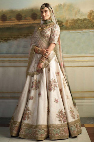 Bridal White Pure Sequin Silk Lehenga Gown SFINSB79 - Siya Fashions