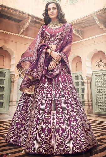 Bridal Wine Art Silk Lehenga Gota Work SF28BRI - Siya Fashions