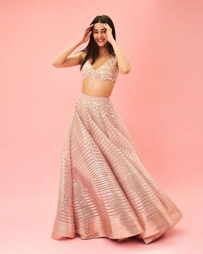 Bridesmaid Cocktail Peach Lehenga Set In Organza SIYAINS653