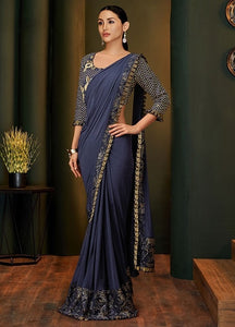 Bridesmaid Designer Evening Lehenga Saree In Blue SIYA113YDS - Siya Fashions