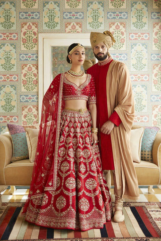 Bright Red Bridal Wedding Royal Haute Couture Silk Lehenga BRIDAL422 - Siya Fashions