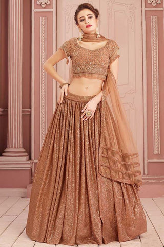 Bronze Gold Indian Lehenga Choli Designs In Stone Zari SF3234YDS - Siya Fashions