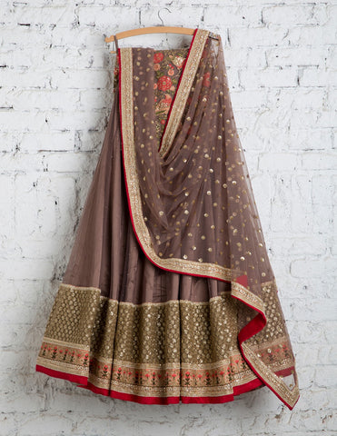 Brown Bridal Reception Lehenga Set In Net Heavy Handwork INS132 - Siya Fashions
