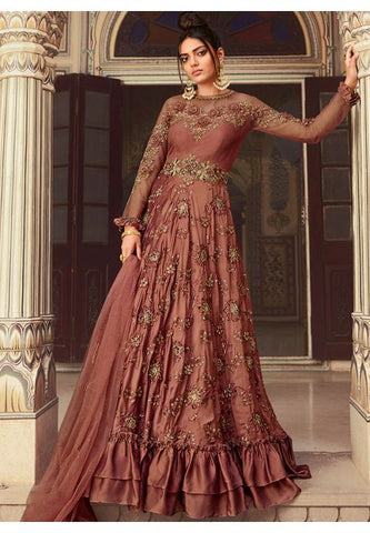 Brown Silk Net Wedding Long Lehenga Set Badla Work SIYA90