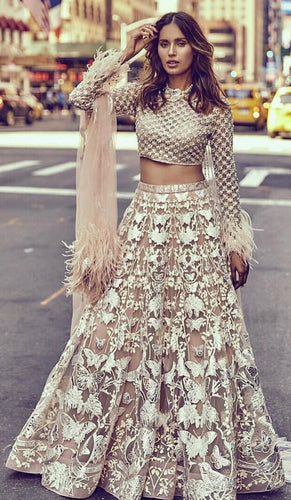 Butterfly Net Wedding Lehenga Heavy Sequin Work SFIN2065 - Siya Fashions