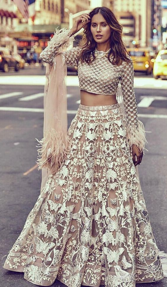 Butterfly Net Wedding Lehenga Heavy Sequin Work SFIN2065