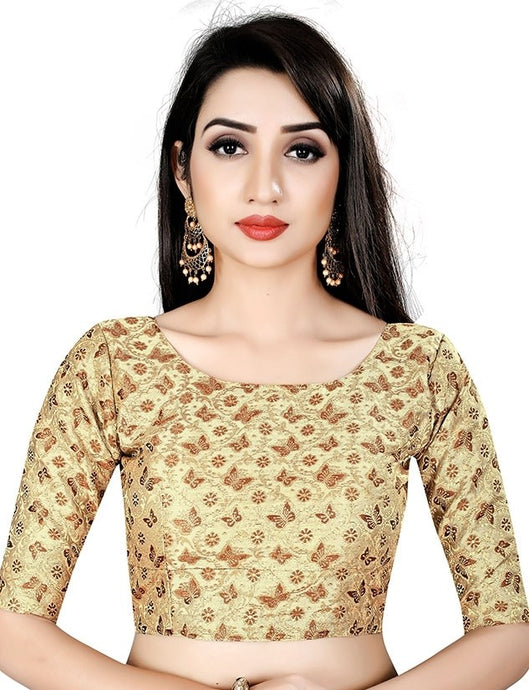 Butterfly Print Blouse In Gold Brocade SIYA24BL - Siya Fashions