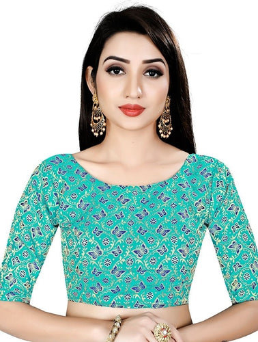 Butterfly Print Blouse In Green Brocade SIYA98BL - Siya Fashions