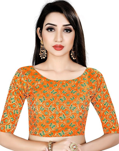 Butterfly Print Blouse In Orange Brocade SIYA25BL - Siya Fashions